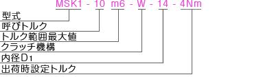 MSK1MSKP 型式表記 マイティの安全クラッチトルクリミッタ