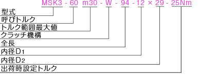 MSK3 型式表記 マイティの安全クラッチトルクリミッタ