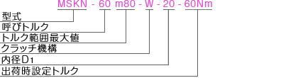 MSKN 型式表記 マイティの安全クラッチトルクリミッタ